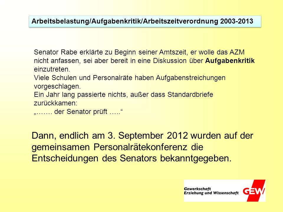 Arbeitsbelastung/Aufgabenkritik/Arbeitszeitverordnung 2003-2013 Senator Rabe erklärte zu Beginn seiner Amtszeit, er wolle das AZM nicht anfassen, sei