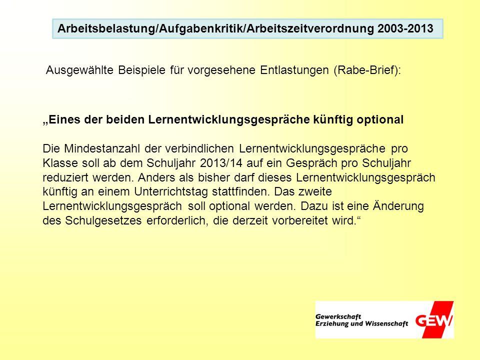 Arbeitsbelastung/Aufgabenkritik/Arbeitszeitverordnung 2003-2013 Eines der beiden Lernentwicklungsgespräche künftig optional Die Mindestanzahl der verb