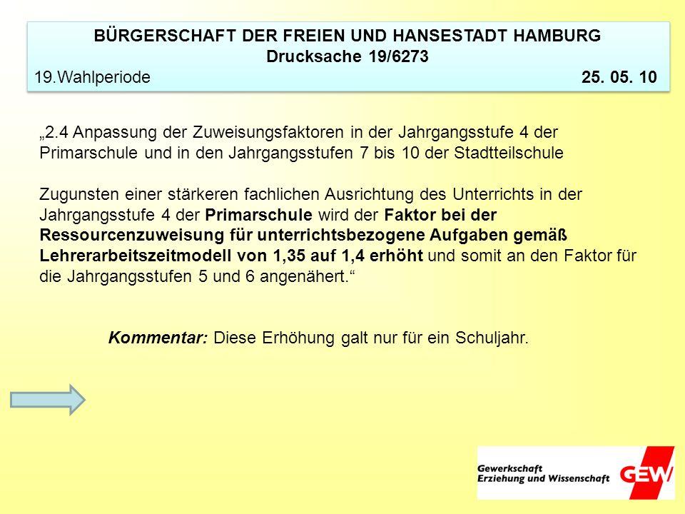 BÜRGERSCHAFT DER FREIEN UND HANSESTADT HAMBURG Drucksache 19/6273 19.Wahlperiode 25. 05. 10 BÜRGERSCHAFT DER FREIEN UND HANSESTADT HAMBURG Drucksache