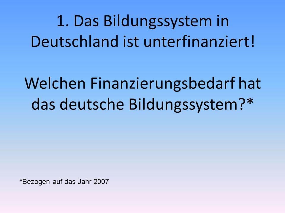 1. Das Bildungssystem in Deutschland ist unterfinanziert! Welchen Finanzierungsbedarf hat das deutsche Bildungssystem?* *Bezogen auf das Jahr 2007