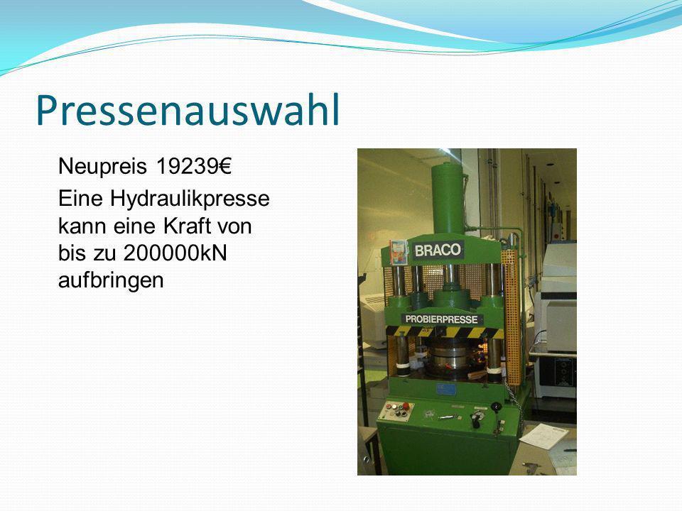 Pressenauswahl Eine Hydraulikpresse kann eine Kraft von bis zu 200000kN aufbringen Neupreis 19239