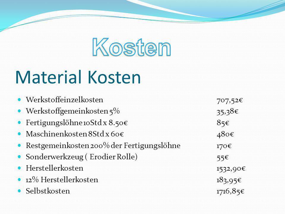 Material Kosten Werkstoffeinzelkosten 707,52 Werkstoffgemeinkosten 5%35,38 Fertigungslöhne 10Std x 8.5085 Maschinenkosten 8Std x 60480 Restgemeinkoste