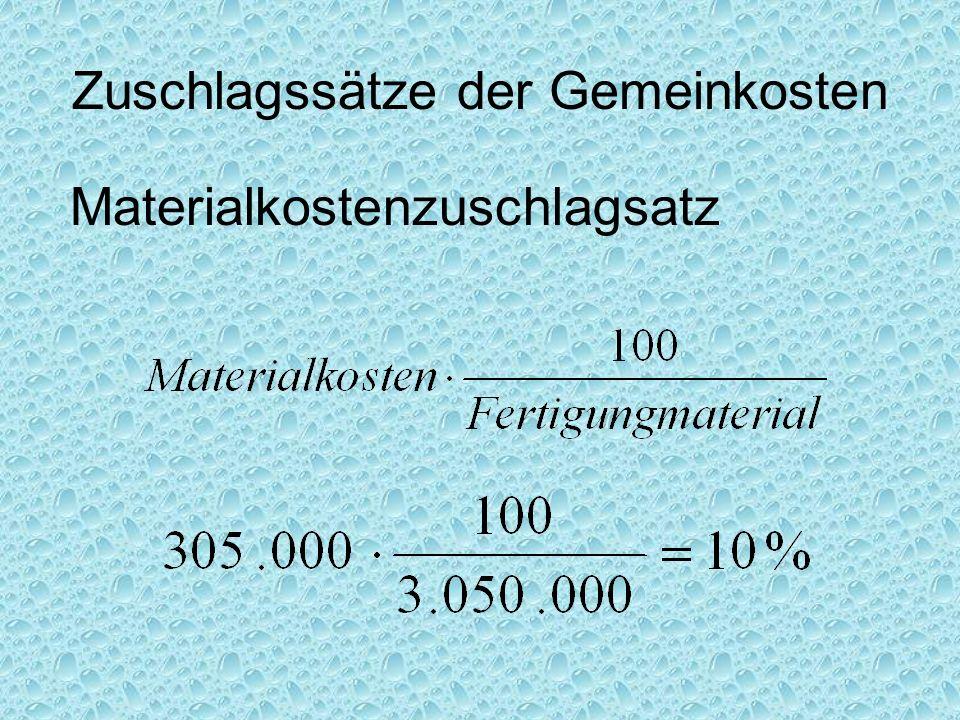 Zuschlagssätze der Gemeinkosten Materialkostenzuschlagsatz