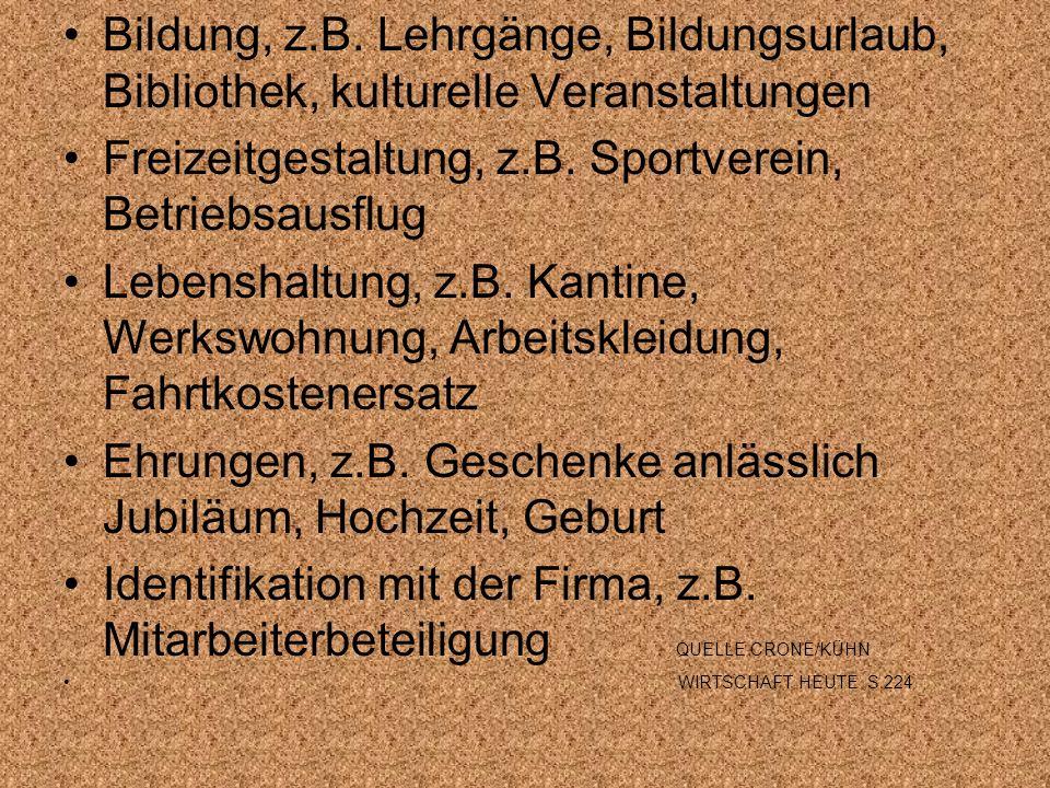 Bildung, z.B. Lehrgänge, Bildungsurlaub, Bibliothek, kulturelle Veranstaltungen Freizeitgestaltung, z.B. Sportverein, Betriebsausflug Lebenshaltung, z