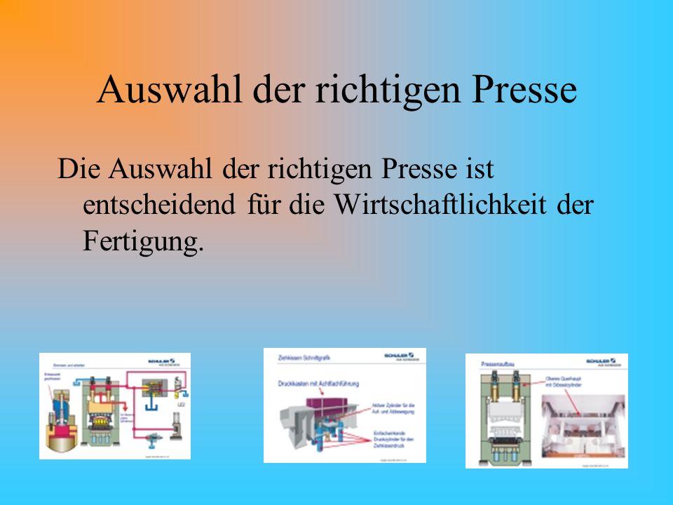 Auswahl der richtigen Presse Die Auswahl der richtigen Presse ist entscheidend für die Wirtschaftlichkeit der Fertigung.