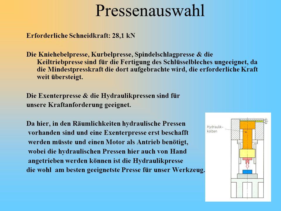 Pressenauswahl Erforderliche Schneidkraft: 28,1 kN Die Kniehebelpresse, Kurbelpresse, Spindelschlagpresse & die Keiltriebpresse sind für die Fertigung
