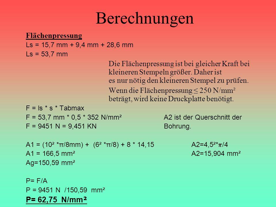Berechnungen Flächenpressung Ls = 15,7 mm + 9,4 mm + 28,6 mm Ls = 53,7 mm Die Flächenpressung ist bei gleicher Kraft bei kleineren Stempeln größer. Da