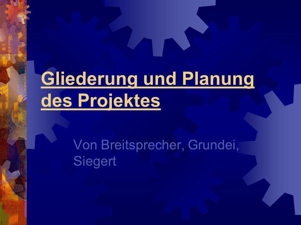 Gliederung und Planung des Projektes Von Breitsprecher, Grundei, Siegert