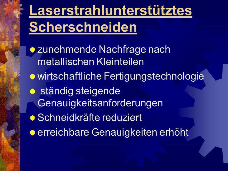 Laserstrahlunterstütztes Scherschneiden zunehmende Nachfrage nach metallischen Kleinteilen wirtschaftliche Fertigungstechnologie ständig steigende Gen