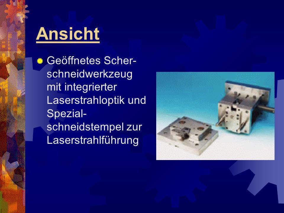 Ansicht Geöffnetes Scher- schneidwerkzeug mit integrierter Laserstrahloptik und Spezial- schneidstempel zur Laserstrahlführung