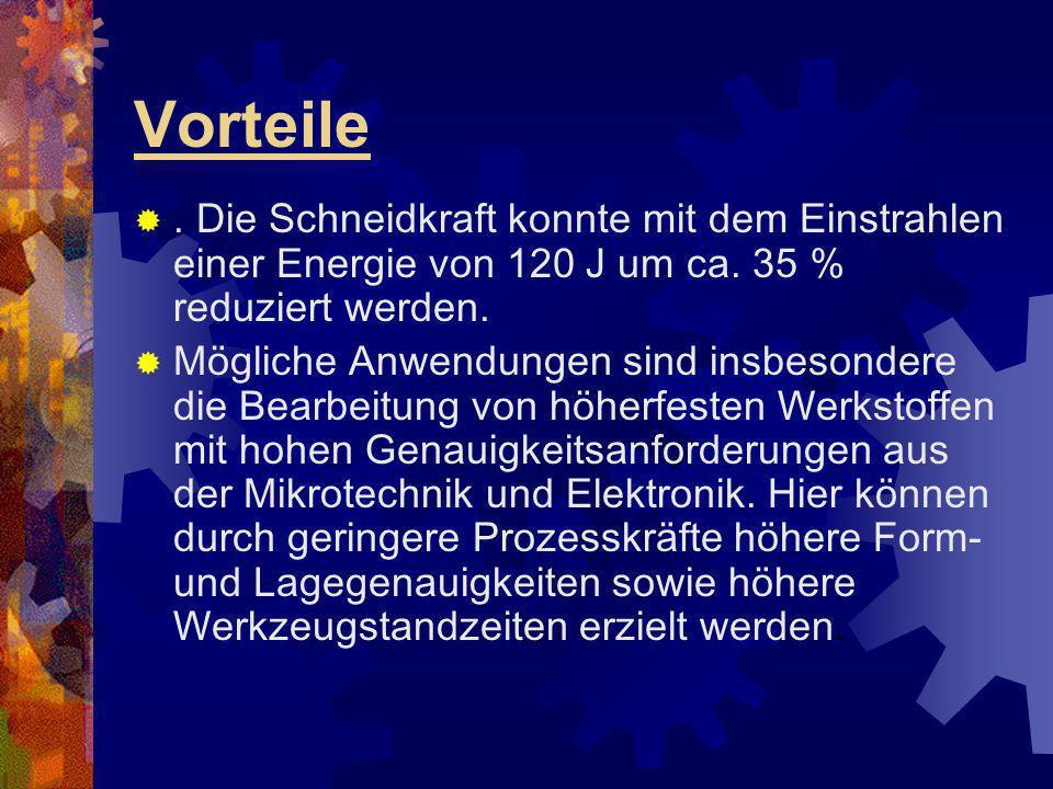 Vorteile. Die Schneidkraft konnte mit dem Einstrahlen einer Energie von 120 J um ca. 35 % reduziert werden. Mögliche Anwendungen sind insbesondere die