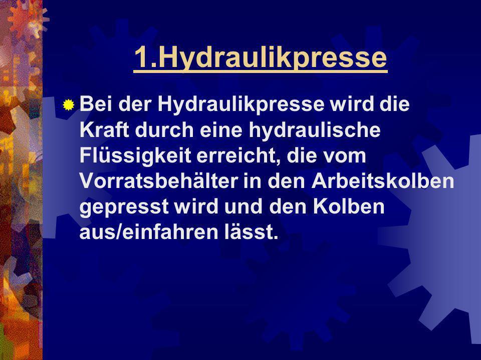 1.Hydraulikpresse Bei der Hydraulikpresse wird die Kraft durch eine hydraulische Flüssigkeit erreicht, die vom Vorratsbehälter in den Arbeitskolben ge