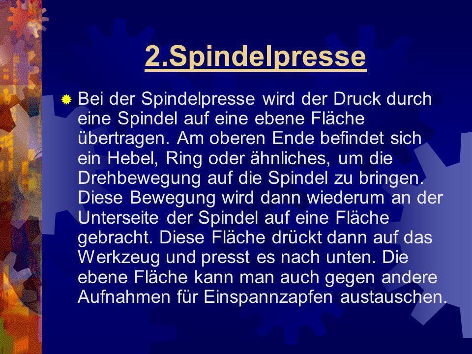 2.Spindelpresse Bei der Spindelpresse wird der Druck durch eine Spindel auf eine ebene Fläche übertragen. Am oberen Ende befindet sich ein Hebel, Ring