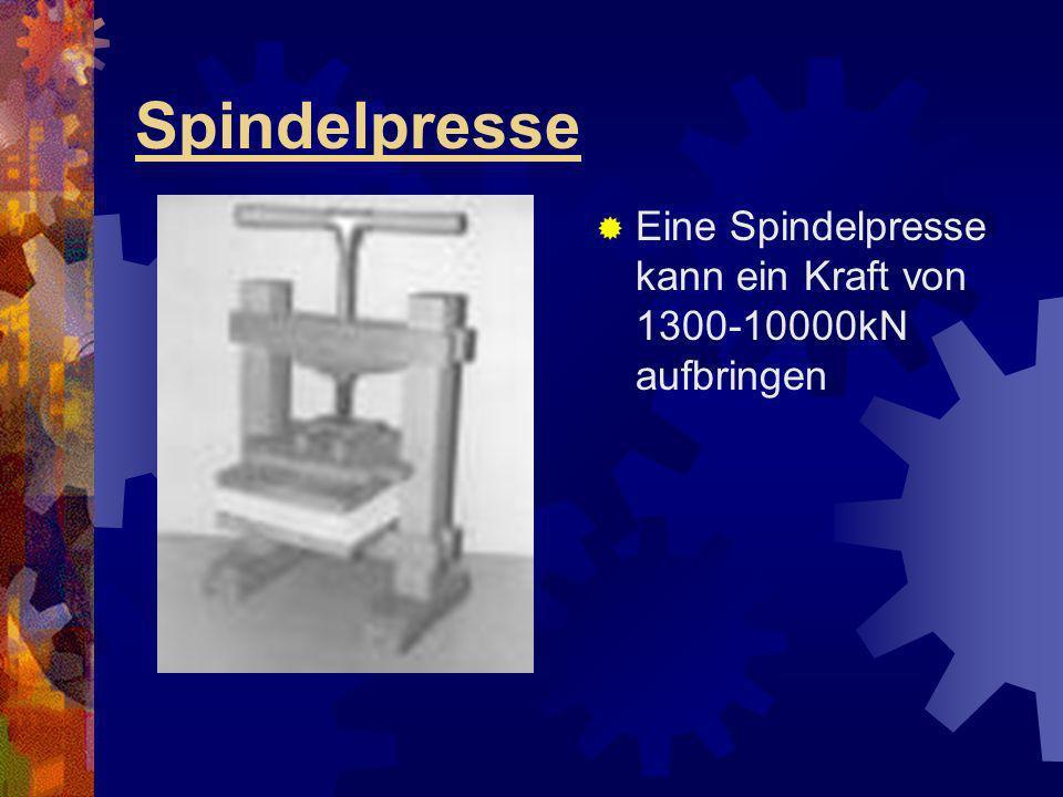 Spindelpresse Eine Spindelpresse kann ein Kraft von 1300-10000kN aufbringen