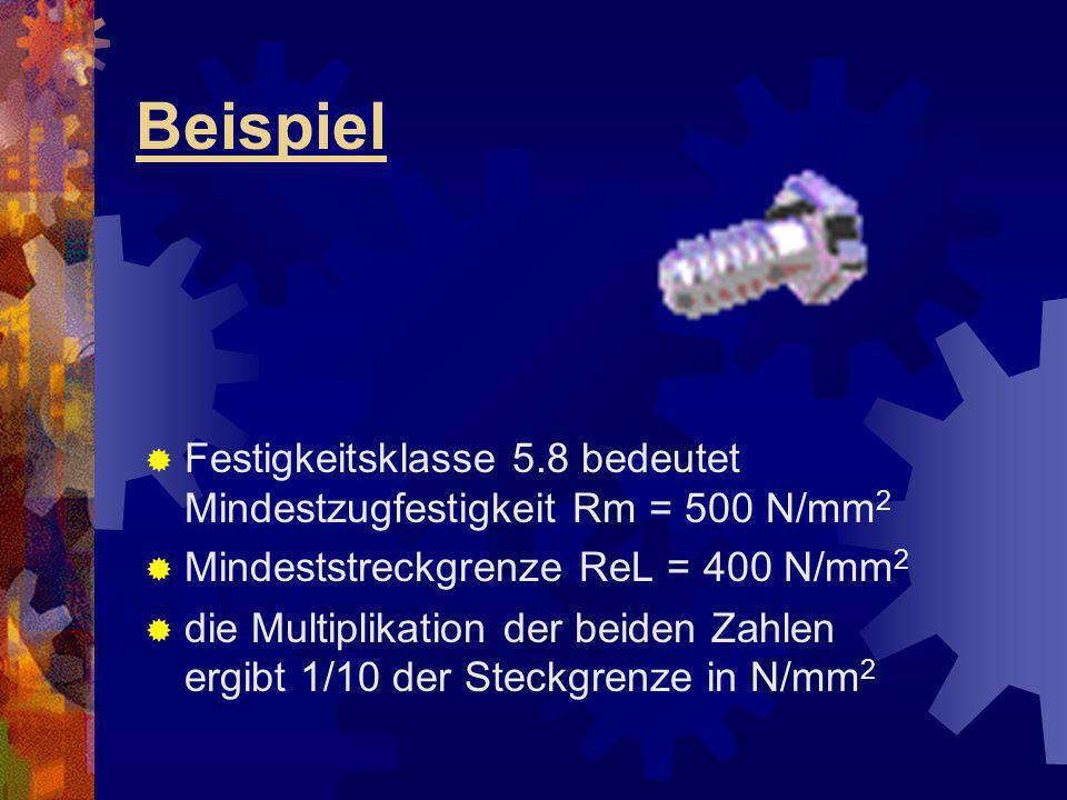 Beispiel Festigkeitsklasse 5.8 bedeutet Mindestzugfestigkeit Rm = 500 N/mm 2 Mindeststreckgrenze ReL = 400 N/mm 2 die Multiplikation der beiden Zahlen