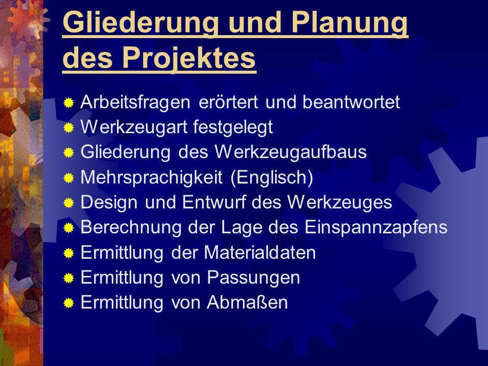 Gliederung und Planung des Projektes Arbeitsfragen erörtert und beantwortet Werkzeugart festgelegt Gliederung des Werkzeugaufbaus Mehrsprachigkeit (En