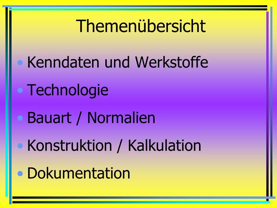 Themenübersicht Kenndaten und Werkstoffe Technologie Bauart / Normalien Konstruktion / Kalkulation Dokumentation