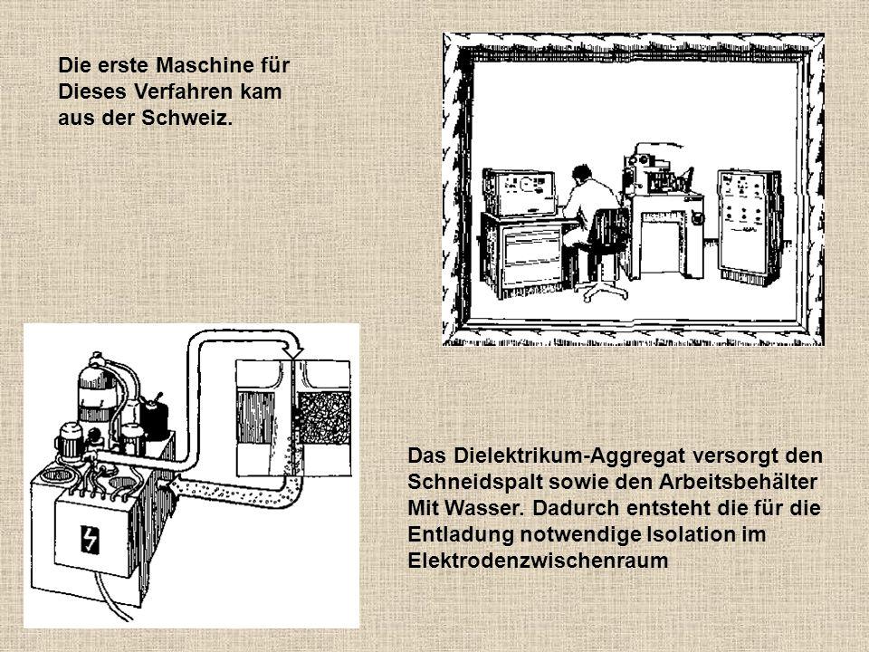 Die erste Maschine für Dieses Verfahren kam aus der Schweiz. Das Dielektrikum-Aggregat versorgt den Schneidspalt sowie den Arbeitsbehälter Mit Wasser.