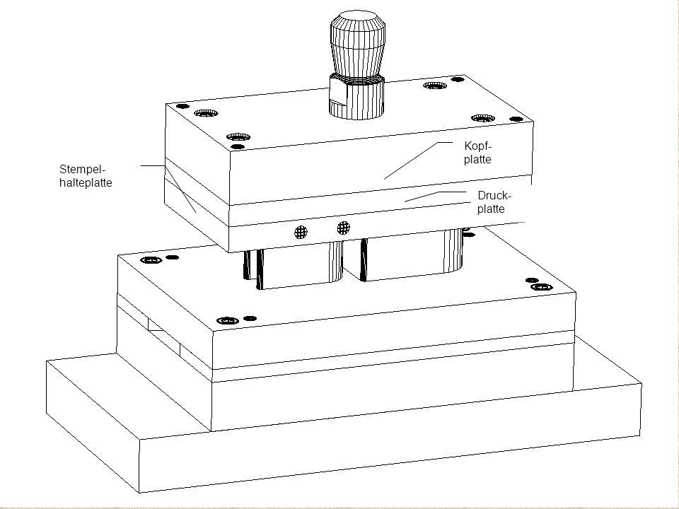 Kopf- platte Druck- platte Stempel- halteplatte