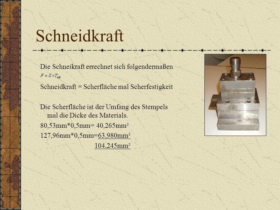 Schneidkraft Die Schneikraft errechnet sich folgendermaßen Schneidkraft = Scherfläche mal Scherfestigkeit Die Scherfläche ist der Umfang des Stempels mal die Dicke des Materials.
