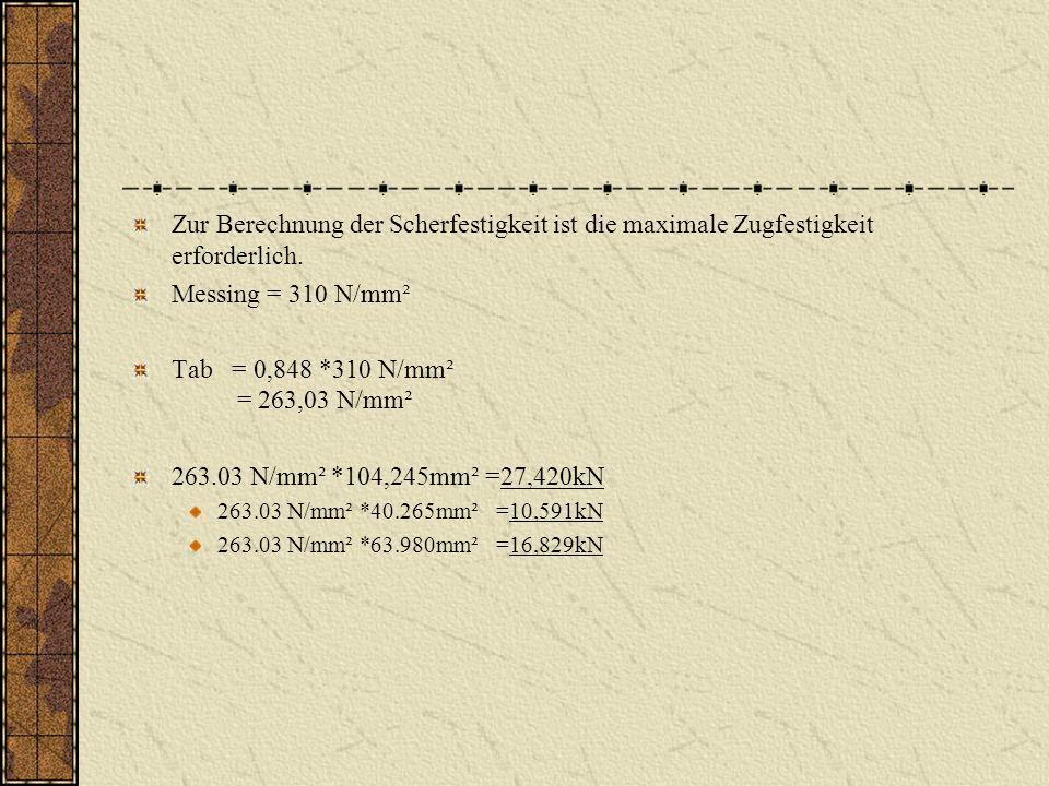 Zur Berechnung der Scherfestigkeit ist die maximale Zugfestigkeit erforderlich.