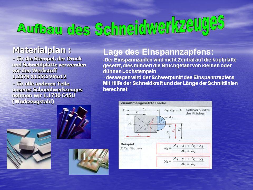 Materialplan : Materialplan : - für die Stempel, der Druck und Schneidplatte verwenden wir den Werkstoff 1.2379 X155CrVMo12 - für die Stempel, der Dru