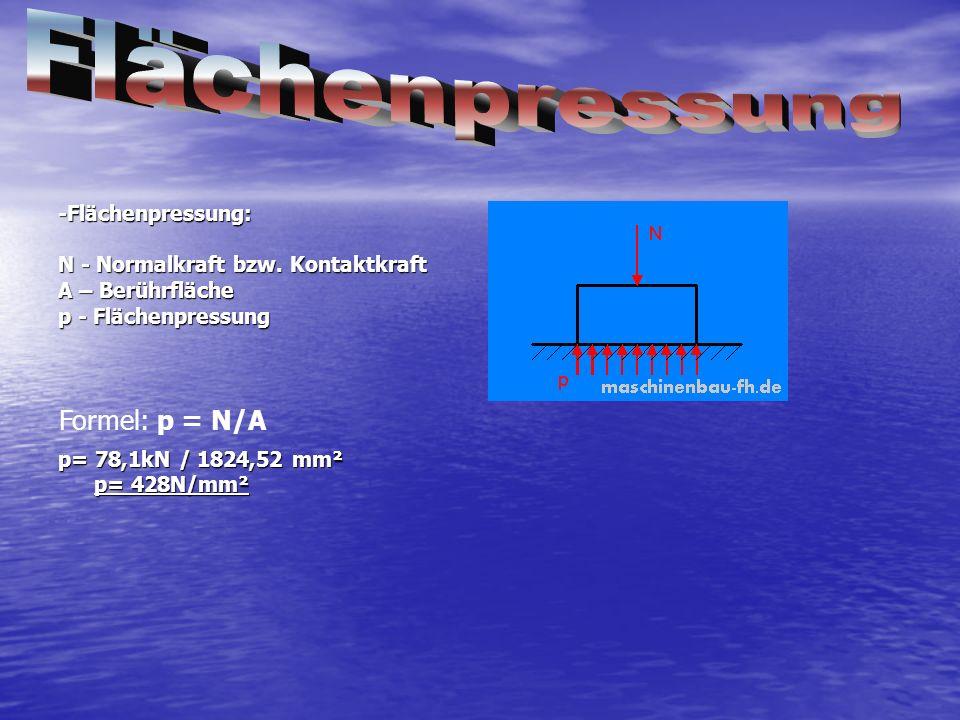 -Flächenpressung: N - Normalkraft bzw. Kontaktkraft A – Berührfläche p - Flächenpressung p= 78,1kN / 1824,52 mm² p= 428N/mm² Formel: p = N/A