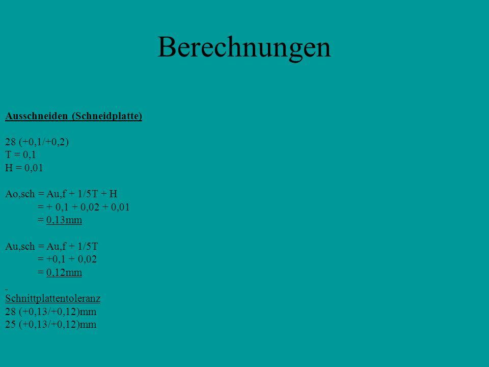 Berechnungen Ausschneiden (Schneidplatte) 28 (+0,1/+0,2) T = 0,1 H = 0,01 Ao,sch = Au,f + 1/5T + H = + 0,1 + 0,02 + 0,01 = 0,13mm Au,sch = Au,f + 1/5T