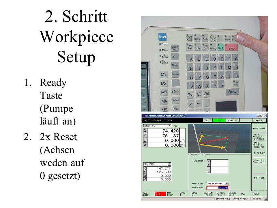 2. Schritt Workpiece Setup 1.Ready Taste (Pumpe läuft an) 2.2x Reset (Achsen weden auf 0 gesetzt)