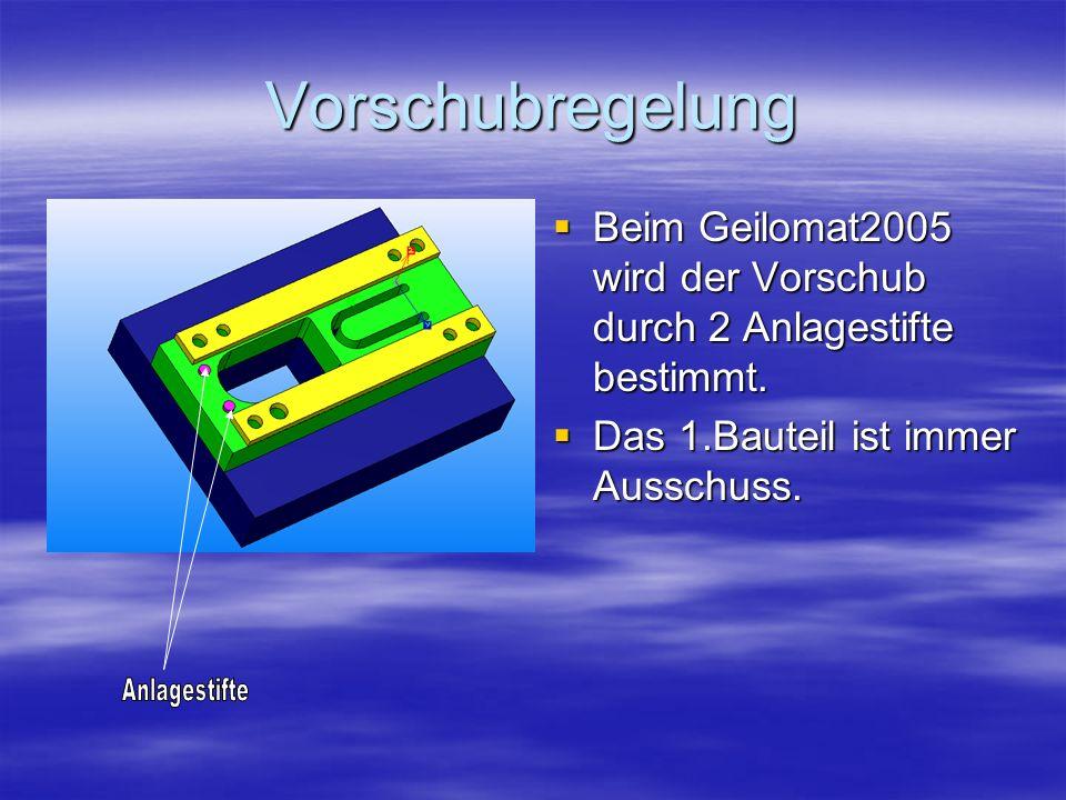 Vorschubregelung Beim Geilomat2005 wird der Vorschub durch 2 Anlagestifte bestimmt. Beim Geilomat2005 wird der Vorschub durch 2 Anlagestifte bestimmt.