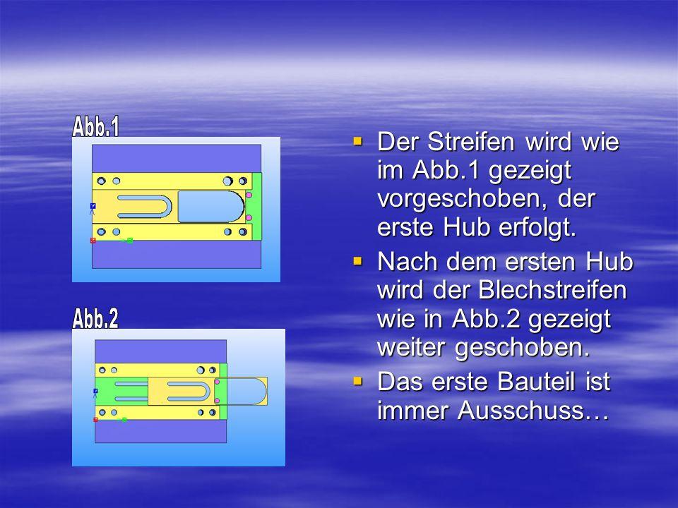 Der Streifen wird wie im Abb.1 gezeigt vorgeschoben, der erste Hub erfolgt. Der Streifen wird wie im Abb.1 gezeigt vorgeschoben, der erste Hub erfolgt