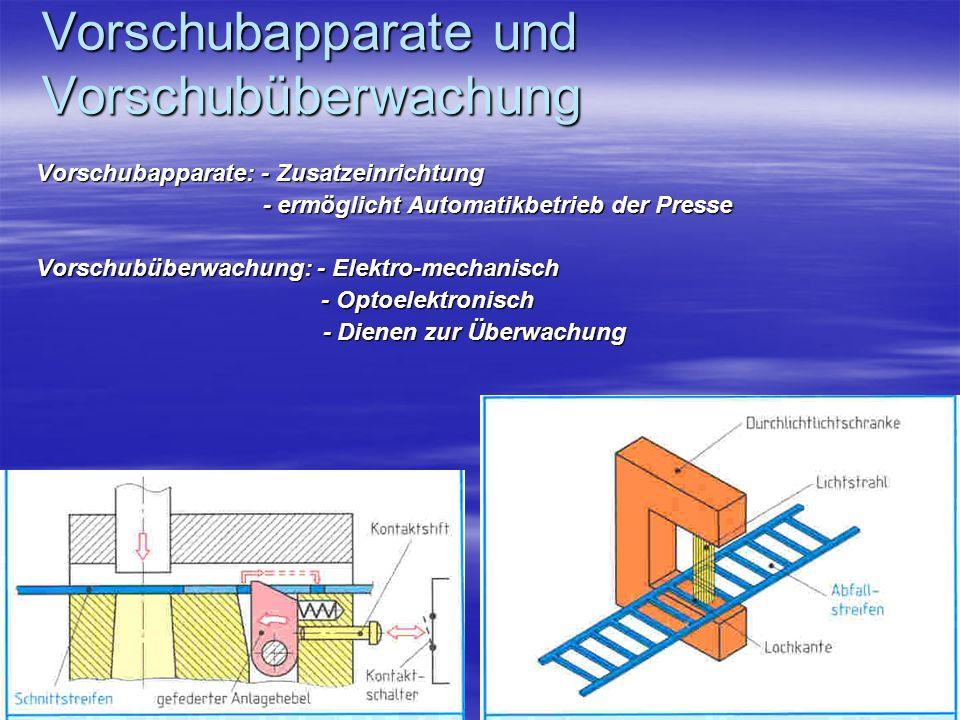 Vorschubapparate und Vorschubüberwachung Vorschubapparate: - Zusatzeinrichtung - ermöglicht Automatikbetrieb der Presse - ermöglicht Automatikbetrieb