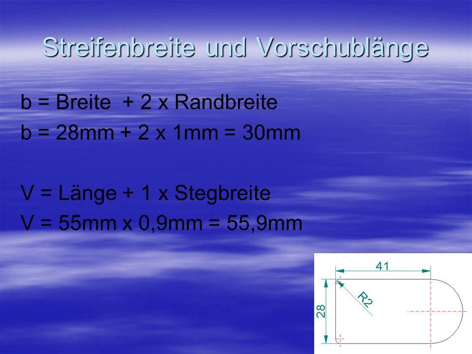 Streifenbreite und Vorschublänge b = Breite + 2 x Randbreite b = 28mm + 2 x 1mm = 30mm V = Länge + 1 x Stegbreite V = 55mm x 0,9mm = 55,9mm