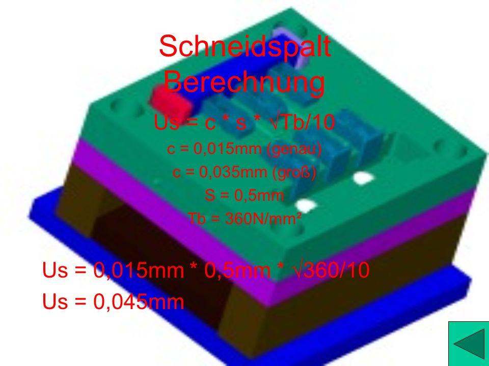 Stempel Berechnung Ausschneiden (Stempel) Stempeltoleranz = Schneidplattenmaß – 2 * Schneidspalt = 28,13 – 2 * 0,02 = 28,09mm Stempeltoleranz = Schnei