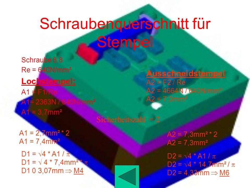 Rückzugskraft Für die Rückzugskraft sind 20-30% der Schneidkraft zu berechnen 25% Lochstempel Fr1 = 9451N / 4 Fr1 = 2363N Ausschneidstempel Fr2 = 1865