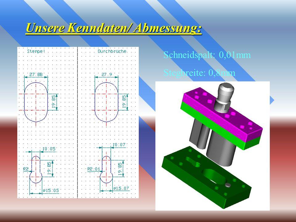 Unsere Kenndaten/ Abmessung: Schneidspalt: 0,01mm Stegbreite: 0,8mm