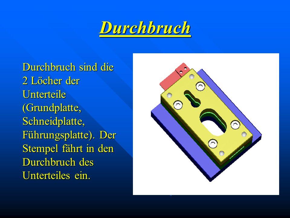 Durchbruch Durchbruch sind die 2 Löcher der Unterteile (Grundplatte, Schneidplatte, Führungsplatte). Der Stempel fährt in den Durchbruch des Unterteil