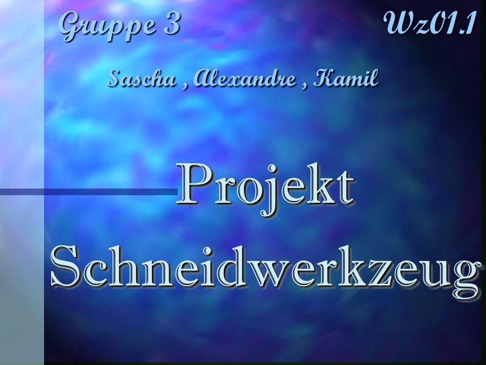 Gruppe 3 Wz01.1 Sascha, Alexandre, Kamil Projekt Projekt Schneidwerkzeug Schneidwerkzeug Projekt Projekt Schneidwerkzeug Schneidwerkzeug