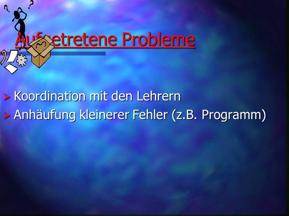 Aufgetretene Probleme Koordination mit den Lehrern Koordination mit den Lehrern Anhäufung kleinerer Fehler (z.B. Programm) Anhäufung kleinerer Fehler