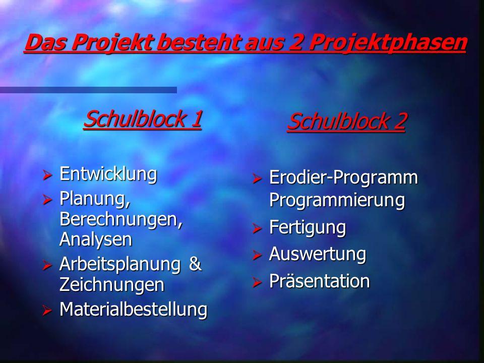 Das Projekt besteht aus 2 Projektphasen Das Projekt besteht aus 2 Projektphasen Schulblock 1 Schulblock 1 Entwicklung Entwicklung Planung, Berechnunge