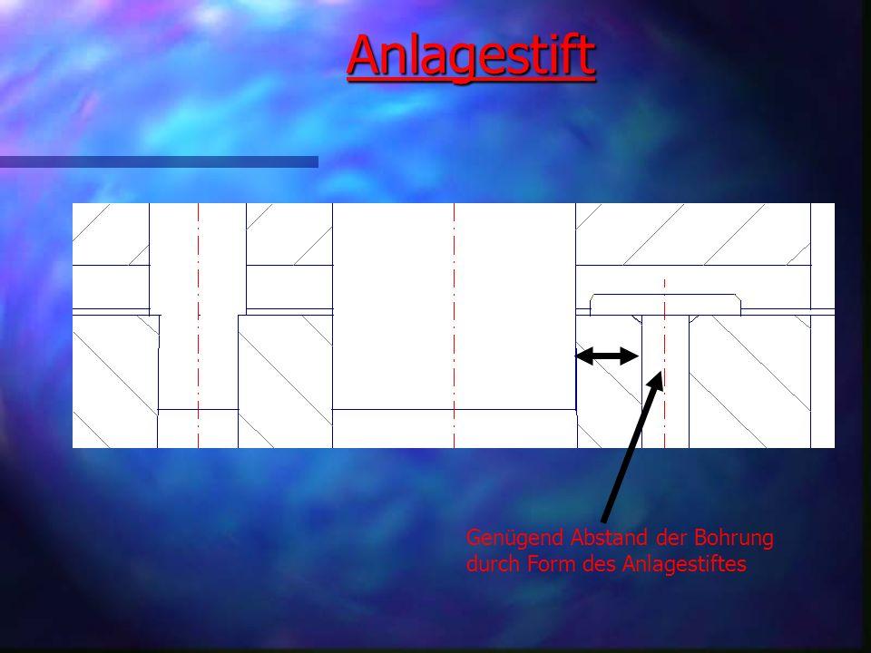 Anordnung der Werkstücke im Streifen Anordnung der Werkstücke im Streifen Wir haben ein mehrstufiges Schneidwerkzeug gebaut, welches aus zwei Stufen besteht.Als erstes wird das Schlüsselloch aus dem Blechstreifen herausgetrennt und als zweites dann das endgültige Werkstück (die rechteckige Kontur um den Schlüssellochausbruch).