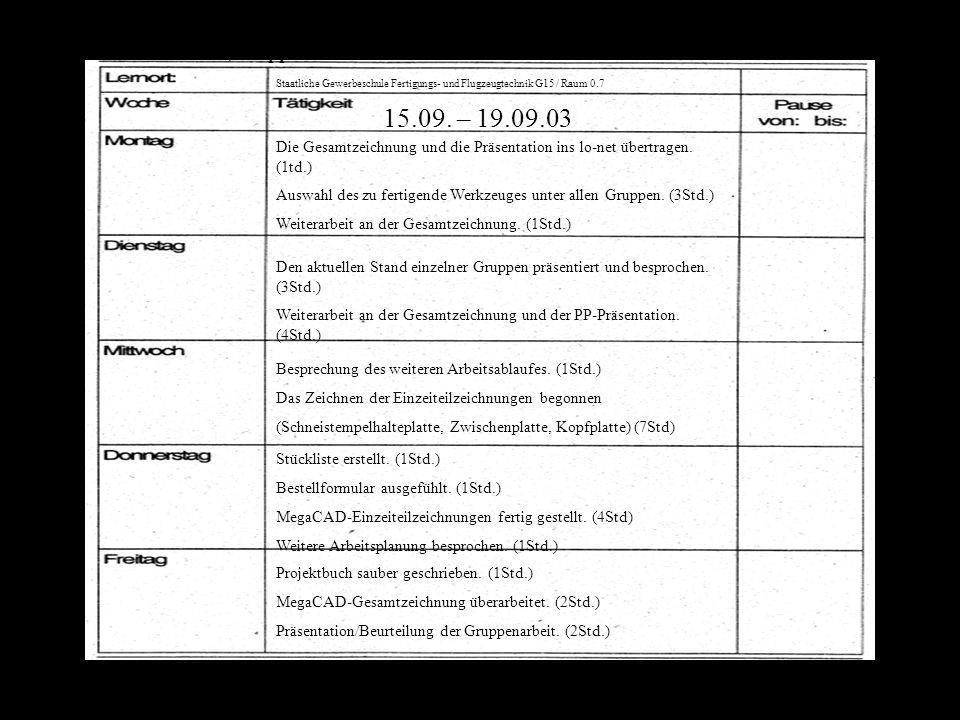 Staatliche Gewerbeschule Fertigungs- und Flugzeugtechnik G 15 Raun 0.7 08.09. –12.09.03 Projekterklärung durch Frau Schilling-Fürst (1Std.) Projektein