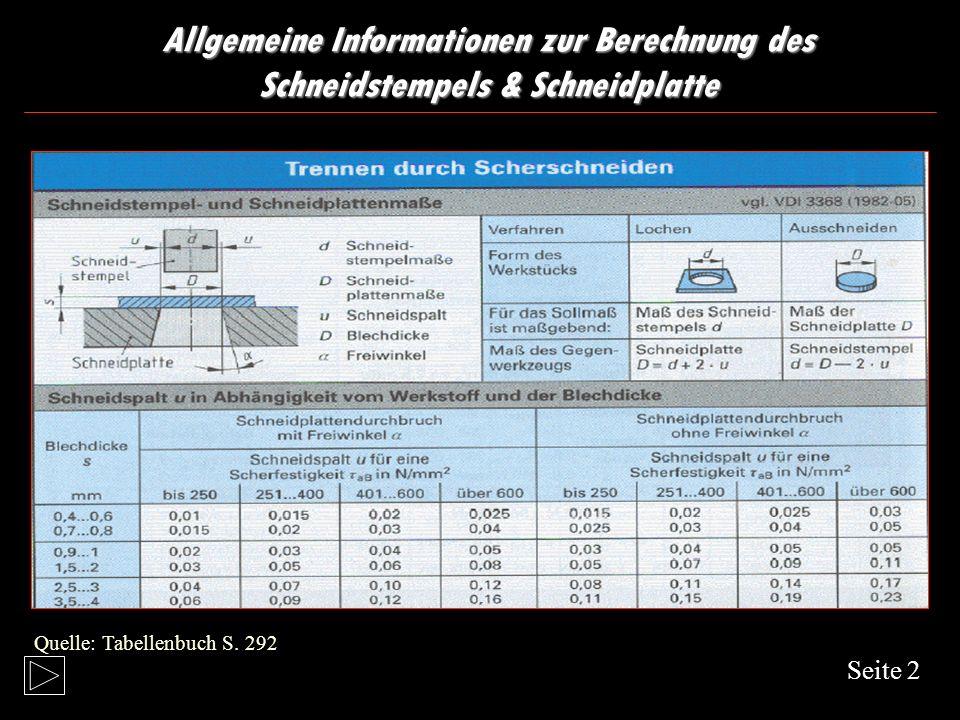 Allgemeine Informationen zur Berechnung des Schneidstempel & Schneidplattenmaße Seite 1 Quelle: Metall Technologie: S.343 Quelle: Metall Technologie S