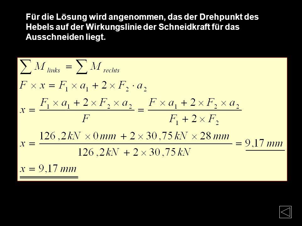 Beispiel : F1 = 126,2kN (Schneidkraft für das Ausschneiden) F2 = 30,57kN ( Schneidkraft für das Lochen) A2 = 28mm ( Abstand Mitte Lochstempel bis Mitt