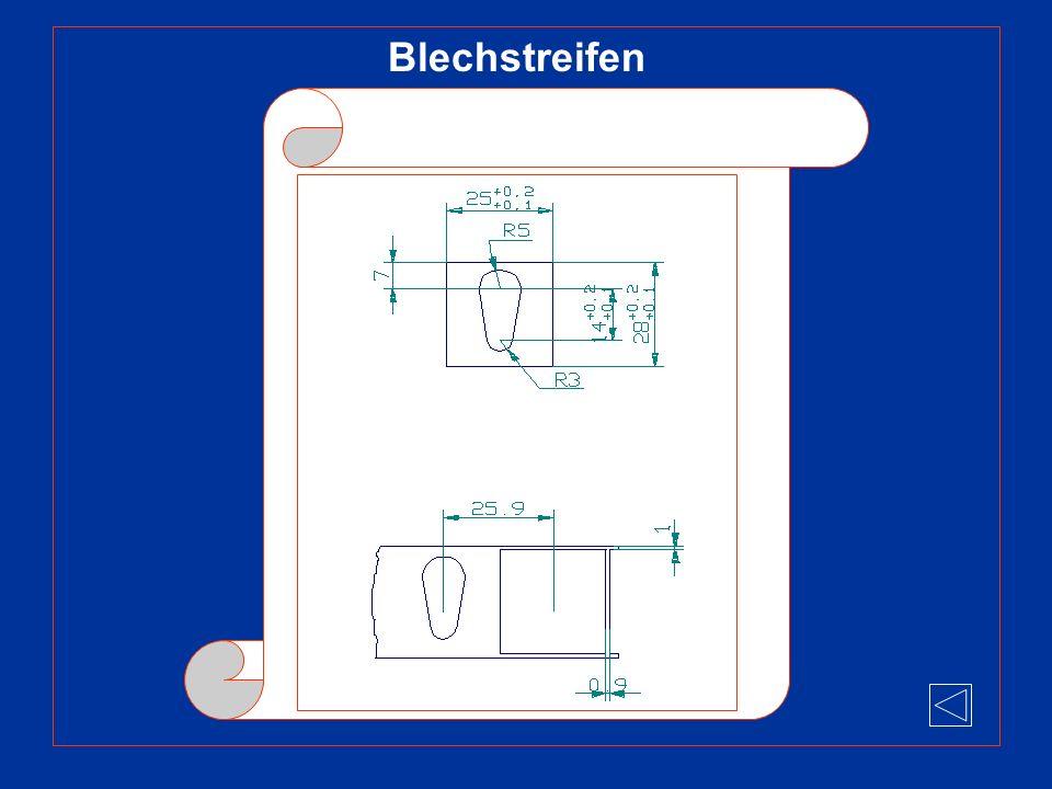 Diese Berechnungsart zur Lage des Einspannzapfens wird bei Biege- und Prägearbeiten angewandt, weil meistens die Stempelkraft senkrecht zur Werkstückf