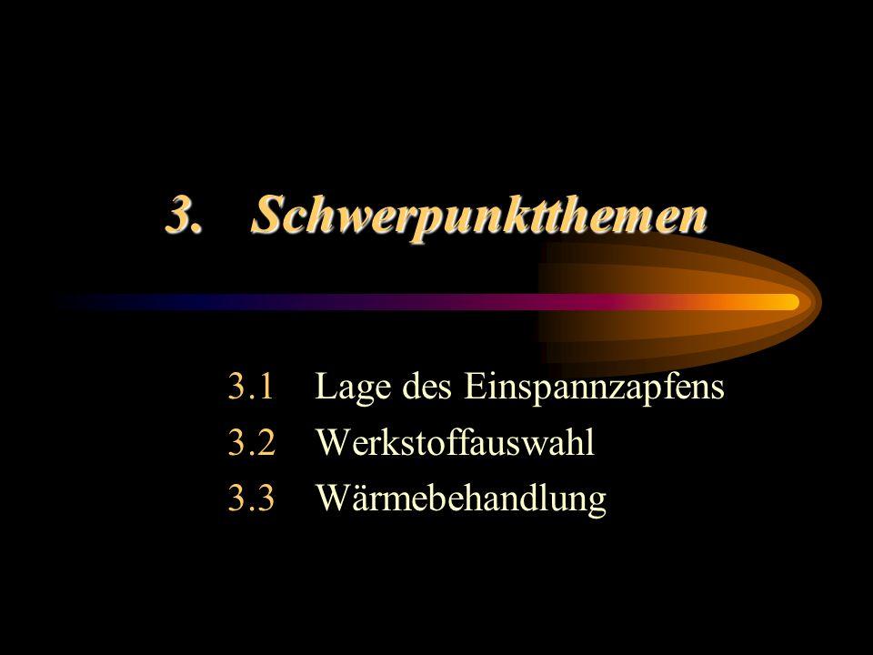 3.Schwerpunktthemen 3.1Lage des Einspannzapfens 3.2Werkstoffauswahl 3.3Wärmebehandlung