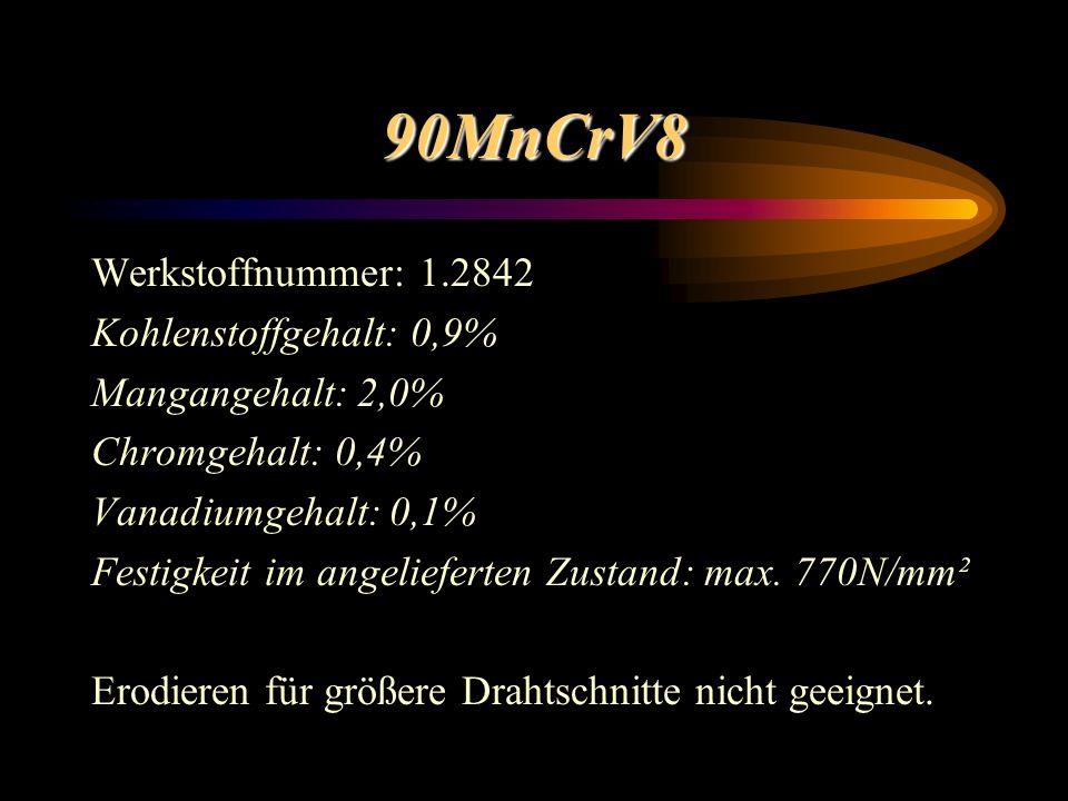 90MnCrV8 Werkstoffnummer: 1.2842 Kohlenstoffgehalt: 0,9% Mangangehalt: 2,0% Chromgehalt: 0,4% Vanadiumgehalt: 0,1% Festigkeit im angelieferten Zustand