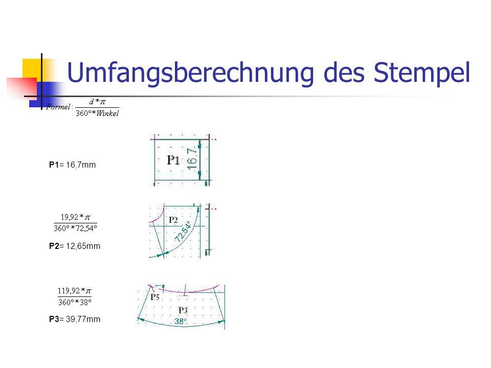 Umfangsberechnung des Stempel P1= 16,7mm P2= 12,65mm P3= 39,77mm