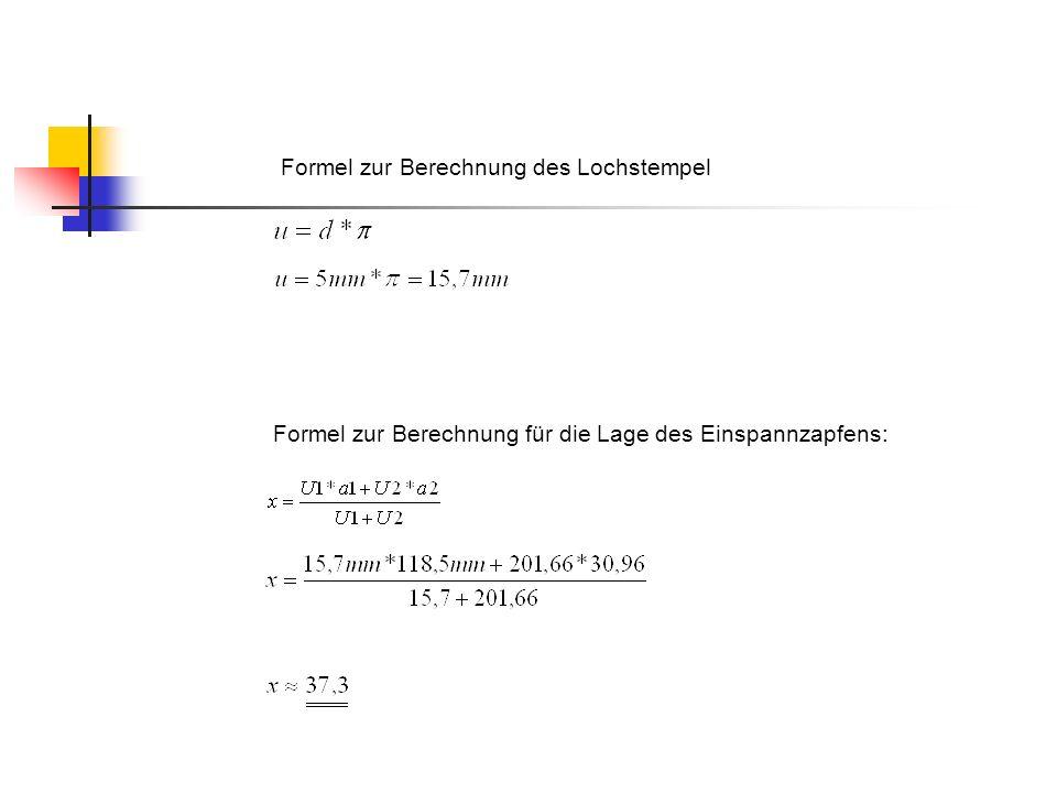 Formel zur Berechnung für die Lage des Einspannzapfens: Formel zur Berechnung des Lochstempel