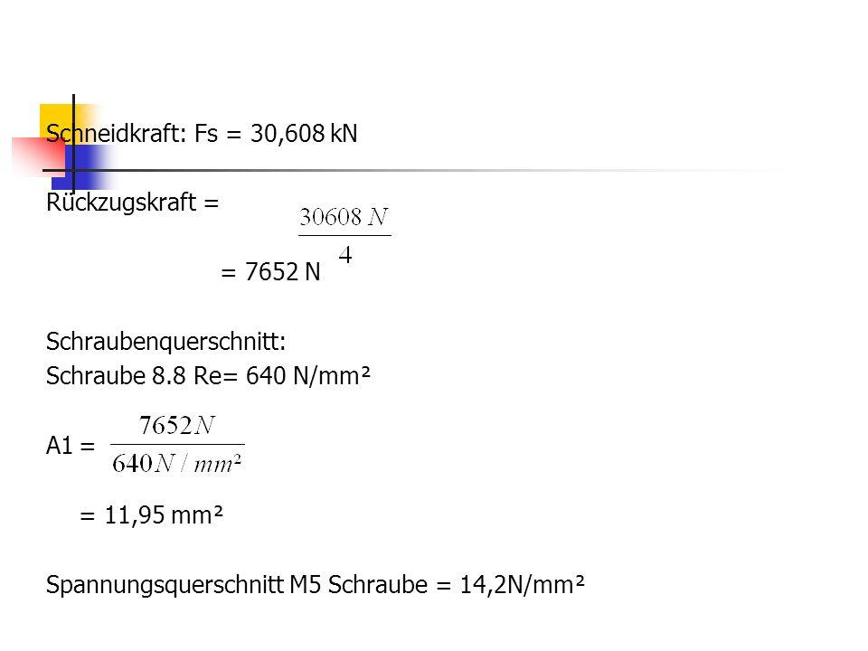 Schneidkraft: Fs = 30,608 kN Rückzugskraft = = 7652 N Schraubenquerschnitt: Schraube 8.8 Re= 640 N/mm² A1= = 11,95 mm² Spannungsquerschnitt M5 Schraub